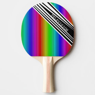 Stripes Vertical Hold Rainbow TV Color Bars Art Ping Pong Paddle