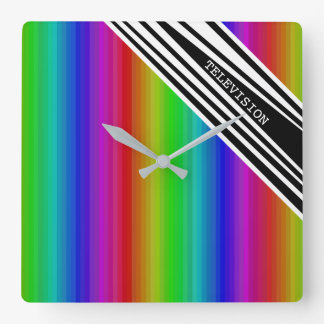 Stripes Vertical Hold Rainbow TV Color Bars Art Square Wall Clock