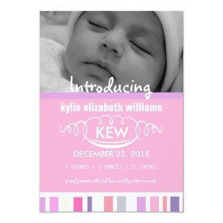 Stripes vintage new baby girl card