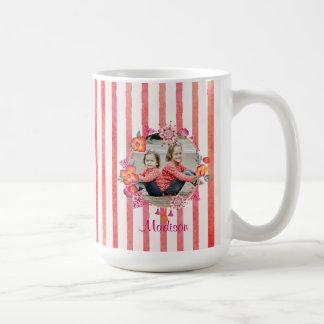 Stripes & Watercolor Floral Photo Frame Coffee Mug