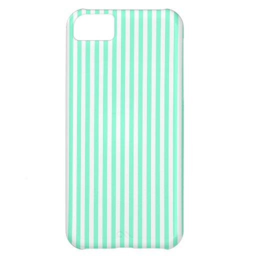 Stripes - White and Aquamarine Case For iPhone 5C