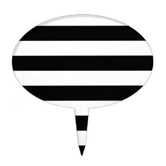 Stripes - White and Black Cake Topper