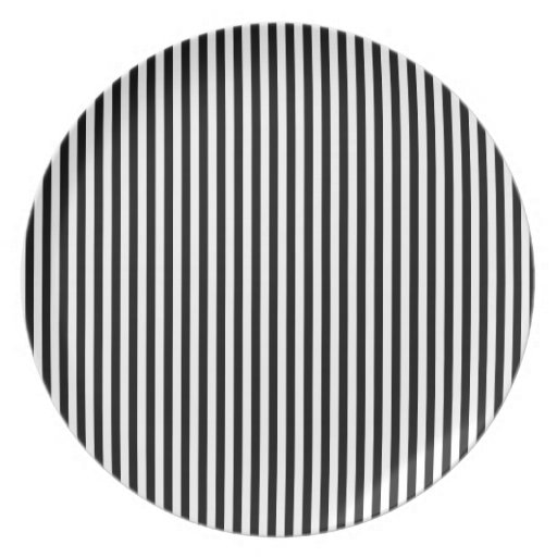Stripes - White and Black Party Plate