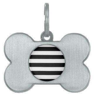 Stripes - White and Black Pet Name Tag