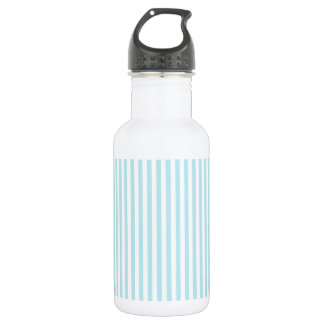 Stripes - White and Blizzard Blue Stainless Steel Water Bottle