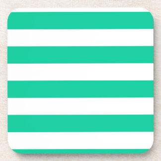 Stripes - White and Caribbean Green Coaster