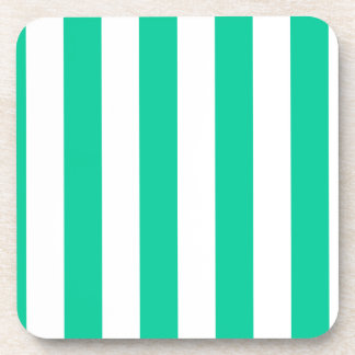 Stripes - White and Caribbean Green Drink Coaster