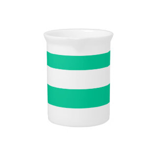 Stripes - White and Caribbean Green Drink Pitcher