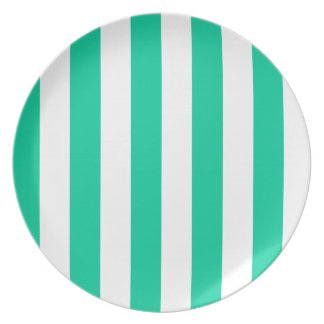 Stripes - White and Caribbean Green Plates