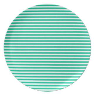 Stripes - White and Caribbean Green Dinner Plate