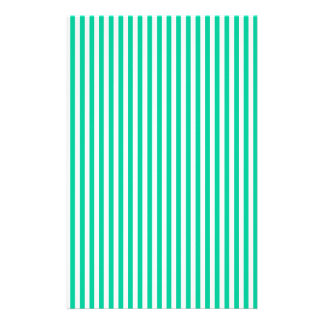 Stripes - White and Caribbean Green Stationery Paper