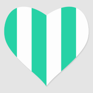 Stripes - White and Caribbean Green Heart Sticker