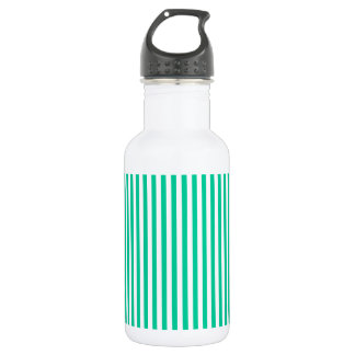 Stripes - White and Caribbean Green Water Bottle