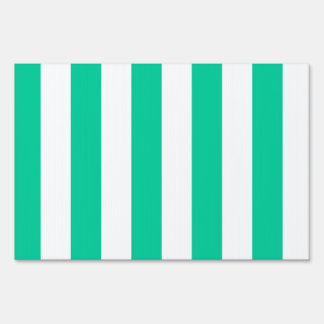 Stripes - White and Caribbean Green Sign