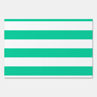 Stripes - White and Caribbean Green Yard Sign