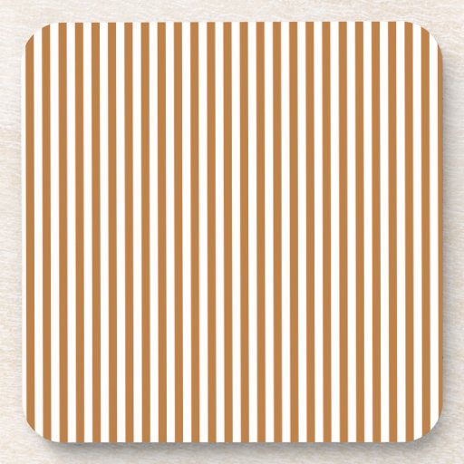 Stripes - White and Copper Beverage Coasters