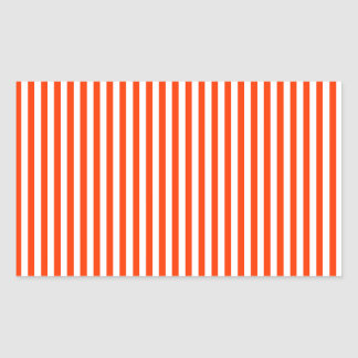 Stripes - White and Coquelicot Rectangular Sticker