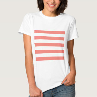 Stripes - White and Coral Pink T-Shirt