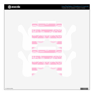 Stripes - White and Cotton Candy Decal For PS3 Controller