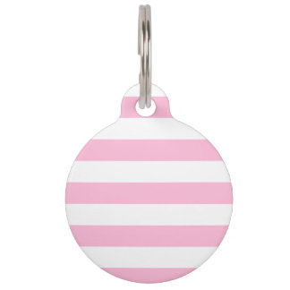 Stripes - White and Cotton Candy Pet ID Tag