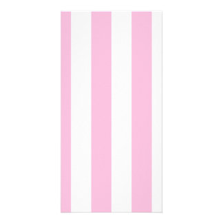 Stripes - White and Cotton Candy Photo Greeting Card