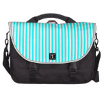 Stripes - White and Cyan Computer Bag