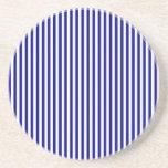Stripes - White and Dark Blue Beverage Coasters