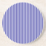 Stripes - White and Dark Blue Drink Coaster