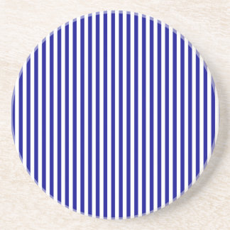 Stripes - White and Dark Blue Drink Coaster
