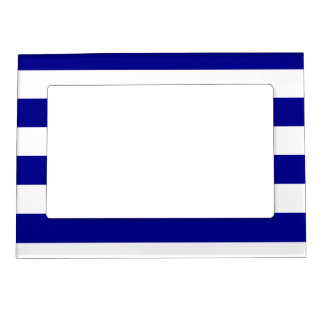 Stripes - White and Dark Blue Magnetic Picture Frame