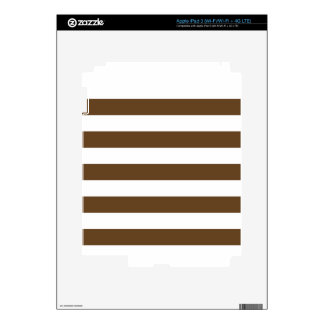 Stripes - White and Dark Brown Decals For iPad 3