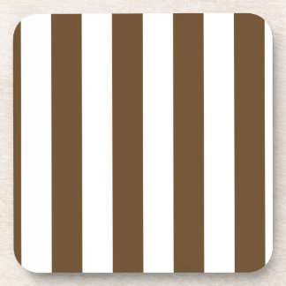 Stripes - White and Dark Brown Drink Coaster