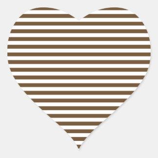 Stripes - White and Dark Brown Heart Sticker