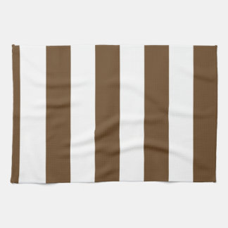 Stripes - White and Dark Brown Hand Towels
