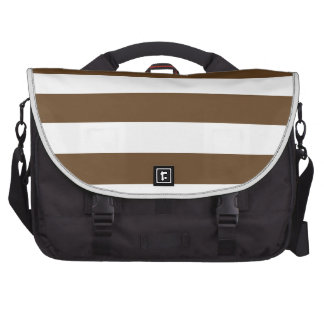 Stripes - White and Dark Brown Computer Bag