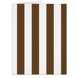 Stripes - White and Dark Brown Large Greeting Card