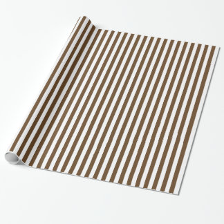 Stripes - White and Dark Brown Wrapping Paper