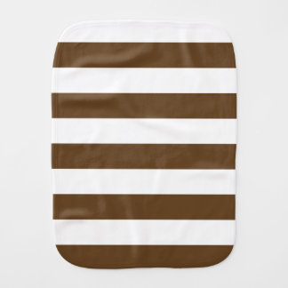 Stripes - White and Dark Brown Burp Cloth