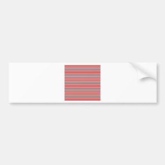 Stripes - White and Dark Candy Apple Red Bumper Sticker
