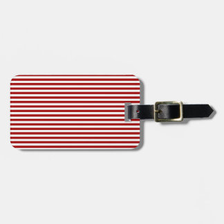 Stripes - White and Dark Candy Apple Red Tags For Luggage