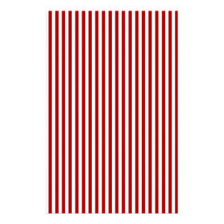 Stripes - White and Dark Candy Apple Red Stationery