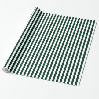 Stripes - White and Dark Green Wrapping Paper