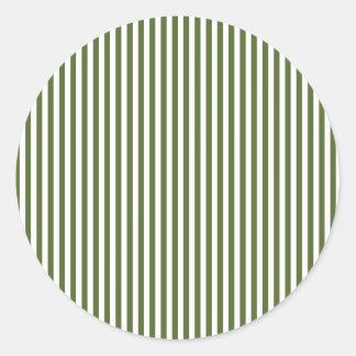 Stripes - White and Dark Olive Green Classic Round Sticker