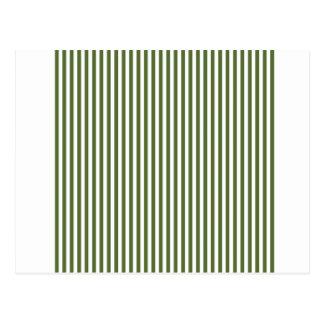 Stripes - White and Dark Olive Green Postcard