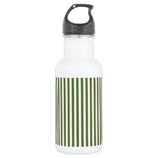 Stripes - White and Dark Olive Green Water Bottle