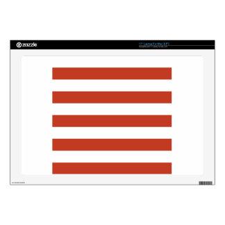 Stripes - White and Dark Pastel Red Laptop Skins