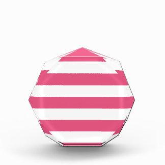 Stripes - White and Dark Pink Acrylic Award