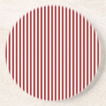 Stripes - White and Dark Red Drink Coasters