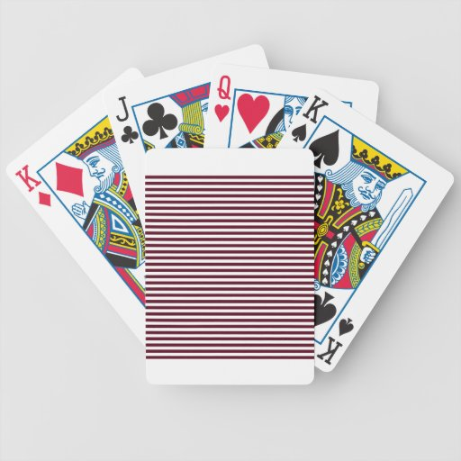 Stripes - White and Dark Scarlet Bicycle Playing Cards