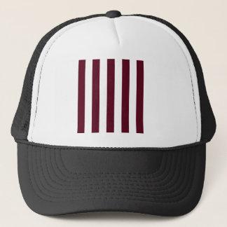 Stripes - White and Dark Scarlet Trucker Hat